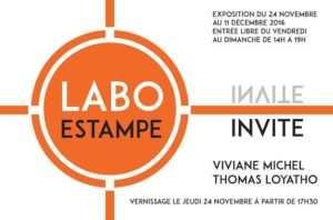 carton d'invitation au vernissage de l'exposition de Viviane Michel au labo estampe