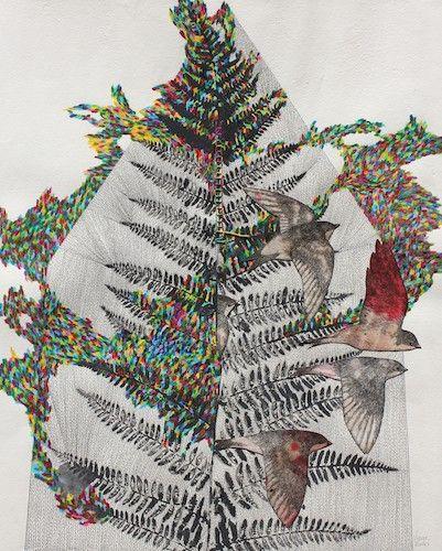 composition artistique où des oiseaux s'envolent des fougères