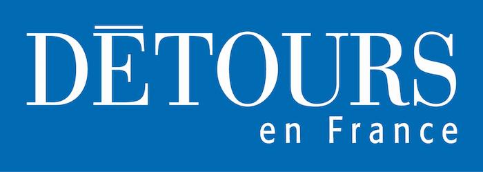 logo blanc sur fond bleu du magazine détours de France