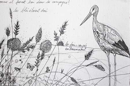 Dessin en noir et blanc, illustration du conte de Hans Christian Andersen