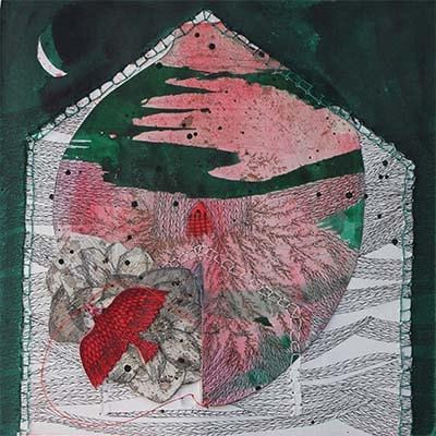 oeuvre symbolique composé de papiers découpés et de fils de couleurs sur papier par Viviane Michel