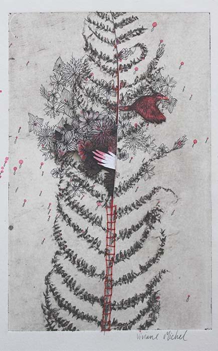photogravure d'une fougère rehaussée de rouge