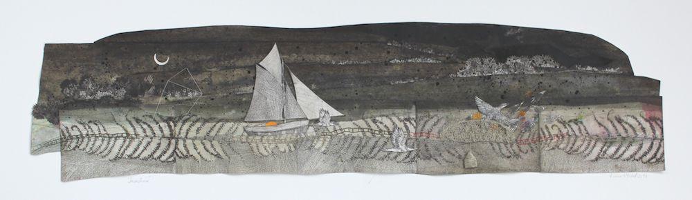 un bateau aux voiles blanches vogue dans la nuit