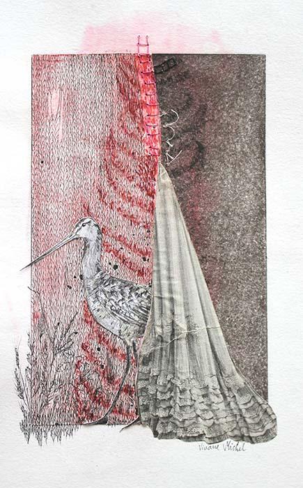 un oiseau au long bec devant un voile rouge