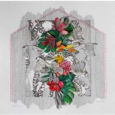 gros plan sur une peinture d'une composition florale sur fond gris clair