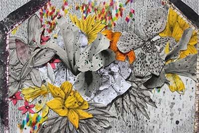 gros plan sur une oeuvre de Viviane Michel composée de fleurs jaunes, blanches et oranges