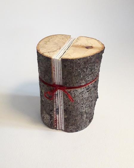 Livre d'artiste de Viviane Michel avec couverture bois