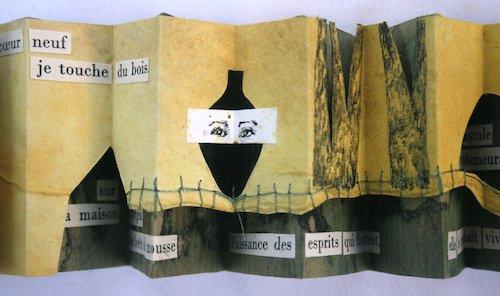 """Livre d'artiste de Viviane Michel """"la maison les suit"""""""