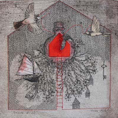 oeuvre d'art au crayon et à l'encre sur papier de Viviane Michel
