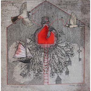 oeuvre d'art symbolique représentant une maison, des oiseaux et un bateau par Viviane Michel