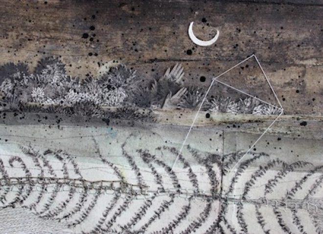 Inconstance (détail) – Viviane Michel – techniques mixtes sur papier : tirage photopolymère, papiers découpés, crayons, encres, fils – 20 X 75 cm – 2017