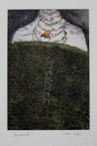 oeuvre de Viviane michel représentant un corps recouvert d'une couverture végétale