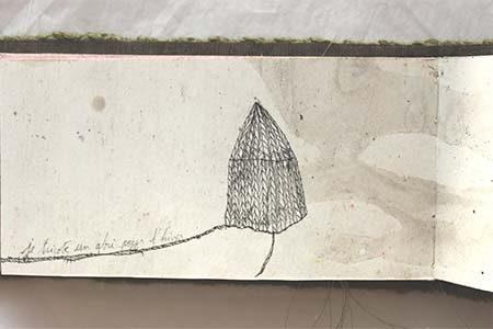 dessin d'une cabane au crayon et à l'encre sur papier dessin