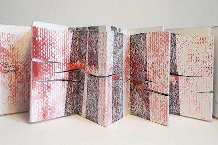 Livre d'artiste de Viviane Michel contre temps - vue déployée