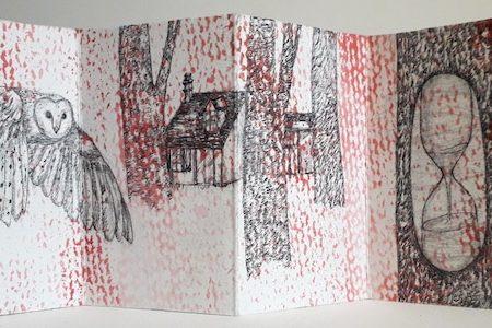 Livre d'artiste de Viviane Michel contre temps - détail