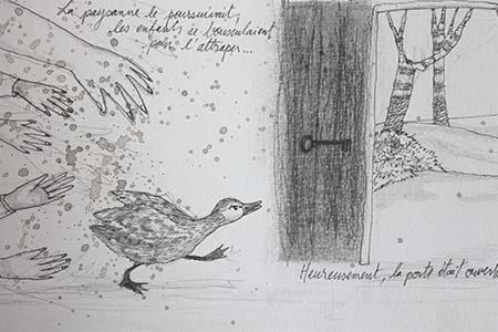 Viviane Michel - illustration - dessin en noir et blanc : encre, stylo, graphites et fusain sur papier Clairefontaine - 12 X 18 cm - 2017 - exemplaire unique.